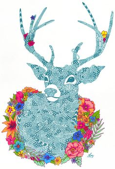 Detailed Patterned Art by Kirsten McCrea.  Things to learn from it: Lines & Colour/ Patterns & Textures/ Silhouette.