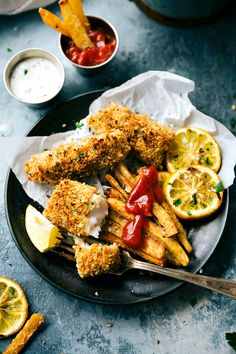 Best Sheet Pan Dinners A quick and delicious take on baked fish and chips -- all baked on just ONE pan. Plus all the tips and tricks on how to get EXTRA crispy baked fries! Fish Recipes, Seafood Recipes, Cooking Recipes, Chicken Recipes, Hcg Recipes, Flour Recipes, Sausage Recipes, Kitchen Recipes, Appetizer Recipes