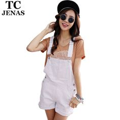6aa9e189b270 TC Brand Women Jeans Short Jumpsuit 2015 Summer Casual White Black Pink  Vintage Denim OverallS rompers Women Clothing FT00555 on Aliexpress.com
