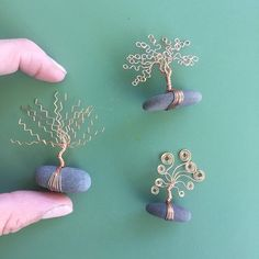 Tiny Fairy Tree Sculptures, Wire Trees, Forest by Sandman Metals Wire Crafts, Rock Crafts, Metal Crafts, Jewelry Crafts, Arts And Crafts, Wire Art Sculpture, Tree Sculpture, Wire Sculptures, Abstract Sculpture