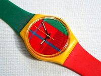Swatch watches. I used to wear 3 at a time - one set to LA time, Oklahoma time & NYC time.