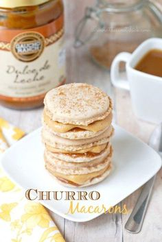 Who else but me would combine Spanish and French desserts into one tasty treat. … Who else but me would combine Spanish and French desserts into one tasty treat. Ever since I made my Conversation Heart Macarons , I ha… French Macaroon Recipes, French Macaroons, French Desserts, Köstliche Desserts, Delicious Desserts, Yummy Food, Plated Desserts, French Recipes, Macarons
