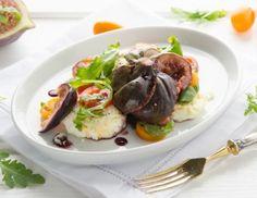 Balsamico-Feigen mit Rucola und gratiniertem Ziegenkäse Potato Salad, Potatoes, Beef, Cheese, Baking, Ethnic Recipes, Food, Dinner Ideas, Vegetarian Spring Rolls