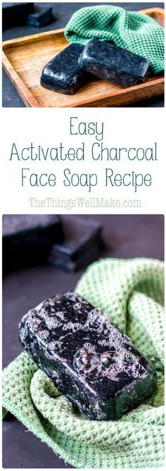 This activated charcoal face soap recipe is simple enough for beginner soapmaker. This activated charcoal face soap recipe is simple enough for beginner soapmakers, yet results in an impressive bar of cleansing, yet moisturizing face soap. Diy Beauté, Diy Spa, Charcoal Face Soap, Activated Charcoal Soap, Diy Cosmetic, Savon Soap, Homemade Soap Recipes, Homemade Paint, Ideias Diy