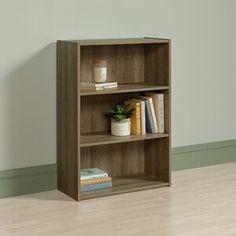 Andover Mills™ Ryker Standard Bookcase & Reviews | Wayfair 3 Shelf Bookcase, Small Bookcase, Large Shelves, Wood Shelves, Sauder Woodworking, Display Homes, Plant Decor, Home Decor Items, Adjustable Shelving