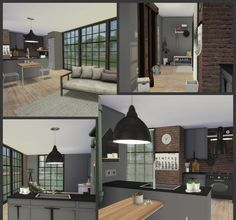 IDUSTRIAL KITCHEN, LIVING ROOM AND DINING ROOM