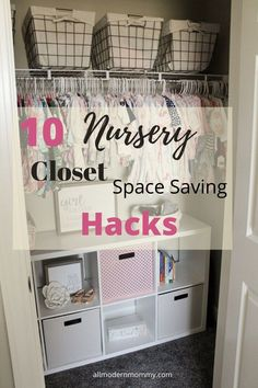 baby clothes in organized closet Nursery Storage, Nursery Organization, Home Organization Hacks, Closet Organization, Space Saving Hangers, Book Racks, Baby Boy Rooms, Closet Space, Clothes Basket