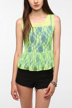Pins and Needles Neon Lace Peplum Top