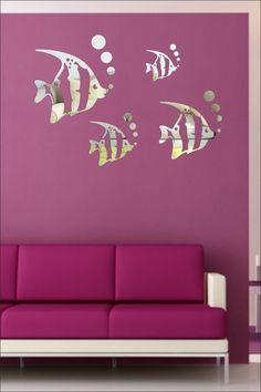 SRGindia Aquarium Fish with Butterfly' Wall Mirror Sticker (Acrylic, 18 cm x 19 cm x 5 cm, Silver) 3d Mirror, Mirror Stickers, Butterfly Wall, Aquarium Fish, Wall Decals, Silver, Home Decor, Ideas, Decoration Home