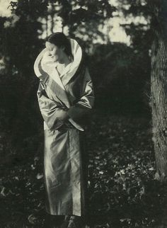 famed ceramist, icon of modern design, Eva Zeisel (1907-2012) wearing a silk wrap designed by an artist friend, about 1929