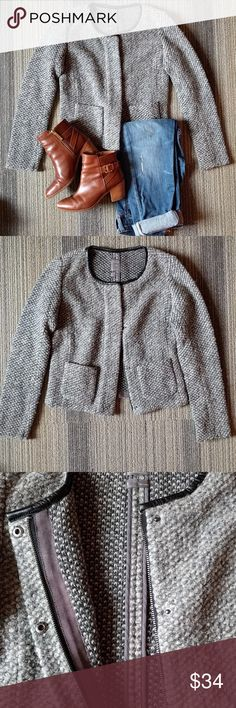 """Gap jacket Can be dress up and down. It has a wool/tweed like look with a black trim around the collar. The jacket is about 18.5"""" long. It can be zipped up or buttoned. Both zipper and buttons are hidden. GAP Jackets & Coats"""