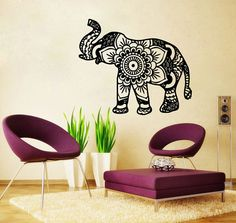 Elephant Wall Decal Namaste Lotus Flower Wall by SuperVinylDecal