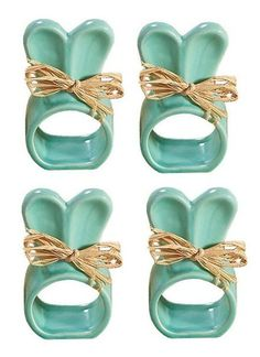 Set of 4 Turquoise Ceramic Easter Bunny Napkin Rings with Raffia Bows: