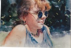 """""""Molly with Blue Glasses"""" Watercolor by Roberta Carter Clark of Little Silver"""