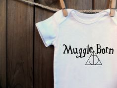 Muggle Born Harry Potter inspired Onesie Geeky Deathly Hallows I solemly swear Baby Infant Toddler T-shirt on Etsy, $12.99