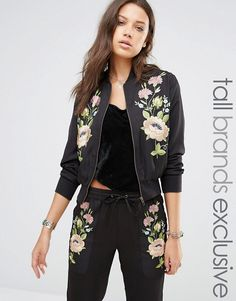 Shop Glamorous Tall Floral Embroidered Bomber at ASOS. Order now with multiple payment and delivery options, including free and unlimited next day delivery (Ts&Cs apply). Latest Fashion Clothes, Fashion Pants, Fashion Outfits, Womens Fashion, Ladies Fashion, Fashion Styles, Fashion Online, Streetwear Mode, Streetwear Fashion