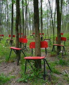 Red chairs, that their inhabitants grow to actual height, and will soon reach the sky :-)
