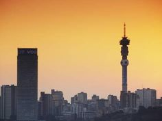 Photographic Print: View of Johannesburg Skyline at Sunset, Gauteng, South Africa by Ian Trower : 24x18in