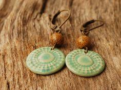 Ohrhänger - Ohrringe türkis braun - Keramik und Jaspis - ein Designerstück von TonArts-Keramik bei DaWanda