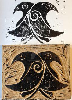 Odin's Raves: Hugin and Munin. Linoleum block, home printed. Linoleum Print - Hugnin and Munin Norse Tattoo, Raven Tattoo, Viking Tattoos, Armor Tattoo, Warrior Tattoos, Hugin Munin Tattoo, Raven Art, Asatru, Viking Art