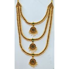 Temple Jewelry Long Necklace With Kemp & Pearls. Indian dance jewelry USA