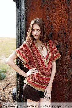 Crochetemoda: Blusas  Nice design but I would close it a bit ~!~