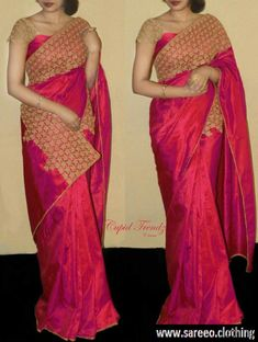 Rimzim enterprise - Partywear Two Tone Paper Silk Embroidered Lace Border Saree Saree Blouse Designs, Blouse Patterns, Indian Dresses, Indian Outfits, Indian Clothes, Simple Sarees, Chiffon, Elegant Saree, Art Silk Sarees
