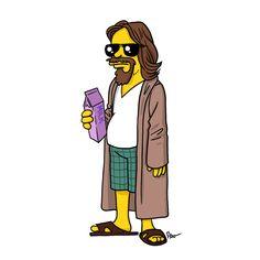 "The Dude from ""The Big Lebowski"" / Simpsonized   Illustrator: ADN"