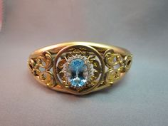 Antique Edwardian FM Co Bracelet Gold Fill Hinge Bangle 14k Topaz Diamond Accent #FMCo #Bangle