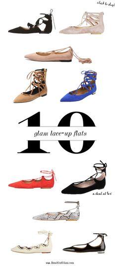 10 Glam Lace-Up Flats   BondGirlGlam.com