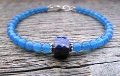 lapis lazuli & agate bracelet lapis lazuli by earthwatersol