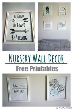 Nursery Wall Decor  With Free Printables!- Pink Oatmeal
