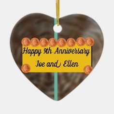 Wedding Anniversary Willow and Copper Ceramic Ornament 9th Wedding Anniversary, Christmas Gifts, Christmas Ornaments, Heart Ornament, Paper Napkins, Create Yourself, Copper, Ceramics, Xmas Gifts