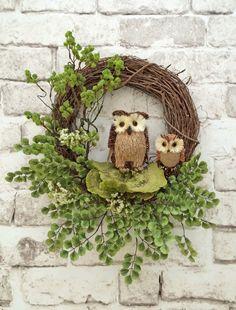 Owl Wreath Fall Wreath for Door Front Door by AdorabellaWreaths