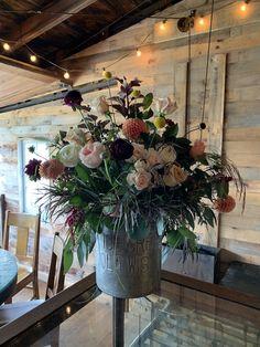 Old Mill Wedding. Locally sourced wedding. Locally grown flowers. Burgundy, peach, coral, yellows, creams, dahlias, ranunculus, amaranths, roses. Vintage ice cream tin.