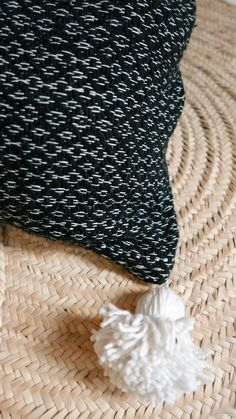 Image of Big Moroccan POM POM  Pillow Cover - Black and White
