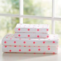 Reverse Dottie Sheets, Twin/ XL Twin, Neon Pink