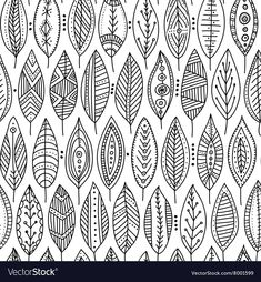 Seamless pattern with ornamental leaves vector image on VectorStock Leaf Drawing, Mandala Drawing, Mandala Art, Doodle Patterns, Zentangle Patterns, Zentangles, Pattern Drawing, Pattern Art, Tribal Print Pattern