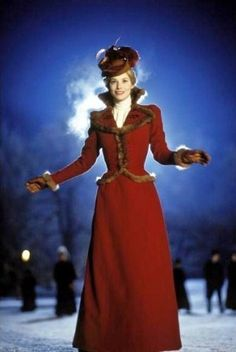 """Emma ( Sienna Guillory ) does some ice skating in this red dress with fur trim """"The Time Machine"""", 2002 Sienna Guillory, Steampunk, Jill Valentine, The Time Machine, English Actresses, Movie Costumes, Film Serie, Hollywood, Outfits"""
