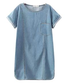 Pure Color Denim Dress