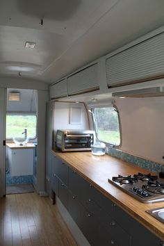 Living Large in an Airstream Trailer. He lives in a trailer, I live in a large-ish apartment ... and yet we both seem to have the same amount of counter space. How is that logical.