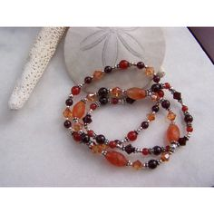 3 stretch bracelets in agate, garnet, carnelian, sterling silver and... ($107) ❤ liked on Polyvore featuring jewelry and bracelets