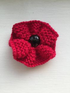 Red knitted poppy brooch red flower brooch Poppy Day red