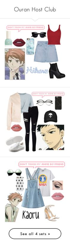 """Ouran Host Club"" by saraiwilks ❤ liked on Polyvore featuring AG Adriano Goldschmied, Casetify, Lime Crime, Concord, Miss Selfridge, T By Alexander Wang, Puma, Maje, Mighty Fine and Schutz"
