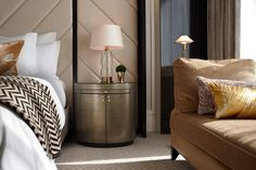 METAL ROUND NIGHTSTAND | Like a box, this metal nightstand stands out for her different shape and the unique form of opening the doors | http://masterbedroomideas.eu #luxuryfurniture #interiordesign #masterbedroomideas