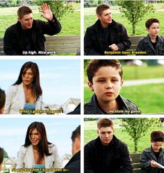 This last gif cracks me up - he's sooooo Dean's son, come on!!  3x02 The Kids Are Alright [gifset]