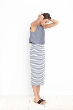 Simple yet lovely and flattering! VITTORIA STRAIGHT SKIRT - STRIPE JACQUARD | Apiece Apart
