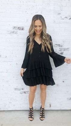 Little black dress with flair. Lined throughout skirt. Tiered layered skirt with pleats. sleeves with pleated details. V-necklne. Spring Fashion Trends, Latest Fashion Trends, Fashion Tips, Layered Skirt, Black Tie, Gorgeous Women, Favorite Pastime, Retail Therapy, Spring Style