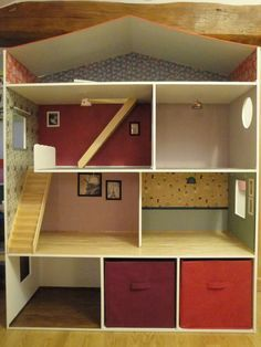 Doll House Diy Homemade Ideas For 2019 Diy Barbie Furniture, Dollhouse Furniture, Home Furniture, Doll House Plans, Apartment Bedroom Decor, Building For Kids, Diy Dollhouse, Dollhouse Bookcase, Kids Bookcase