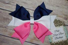 Marina rosa y blanco de pelo arco arcos de pelo para niñas White Hair Bows, Big Hair Bows, Ribbon Hair Bows, Diy Ribbon, Baby Girl Bows, Girls Bows, Boutique Hair Bows, Bow Design, Diy Bow